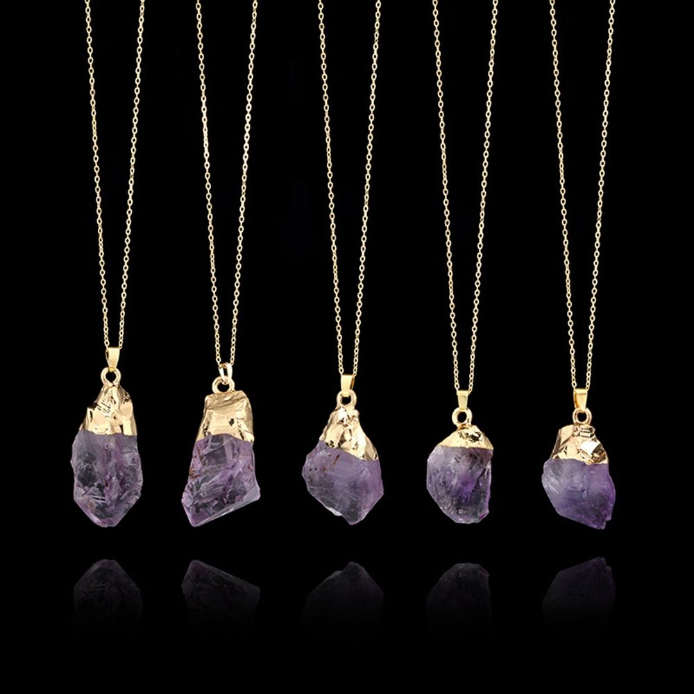 1PC Purple Natural Amethyst Gemstone Pendant Quartz Crystal Point Healing Stone Long Chain Necklace Amethyst Pendant Home Decor 9