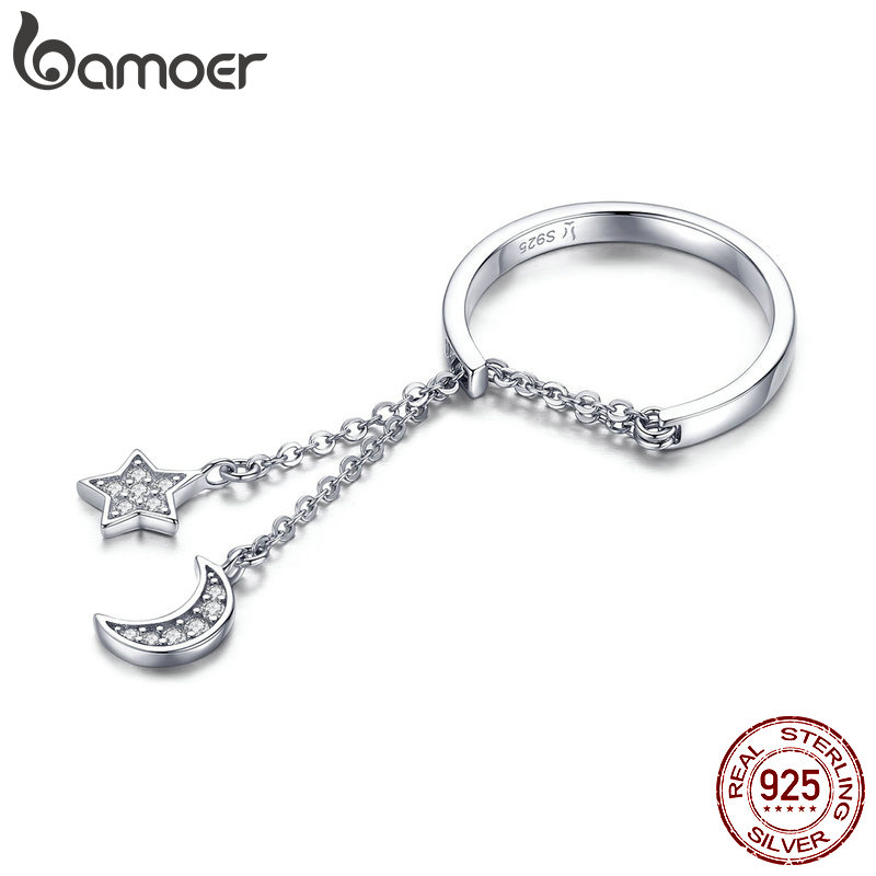 BAMOER Authentic 925 Sterling Silver Moon And Star Link Chain Adjustable Finger Rings For Women S925 2019 New Design SCR407
