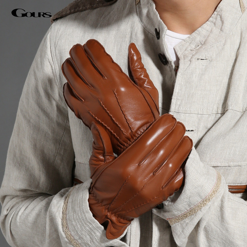Gours 2018 New Men's Winter Genuine Leather Gloves Fashion Brand Black Warm Gloves Classic Goatskin Mittens Luvas Guantes GSM009