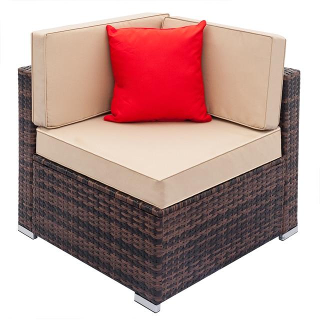 Patio Rattan Wicker Chair Sofa Fully Equipped Weaving Rattan Sofa Brown Gradient Backyard Outdoor Garden Sofa Set - US Stock