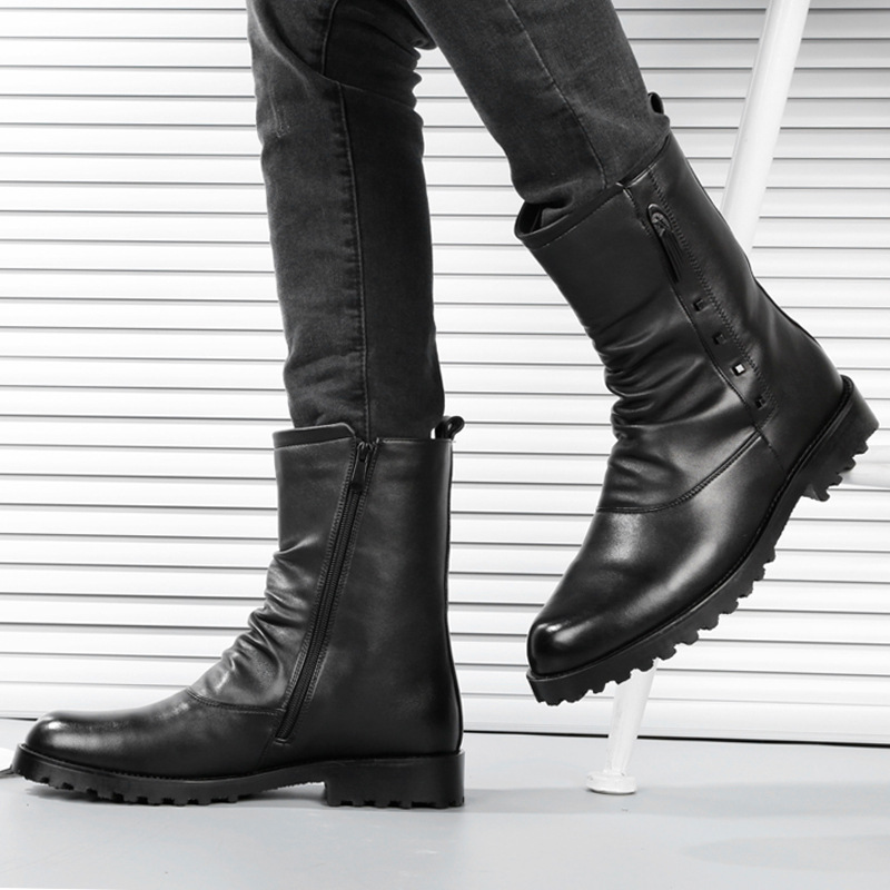 British design men fashion soft leather boots mid-calf short boot platform black tooling shoes motorcycle zapatos hombre botinesBritish design men fashion soft leather boots mid-calf short boot platform black tooling shoes motorcycle zapatos hombre botines