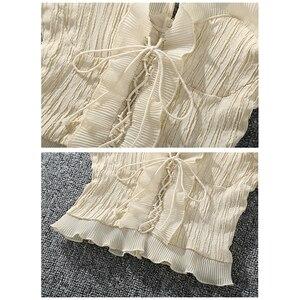 Image 5 - Shintimes 2020 novo verão outono bustier branco preto tanque superior feminino sexy bandagem sem mangas colheita superior zíper mulher roupas