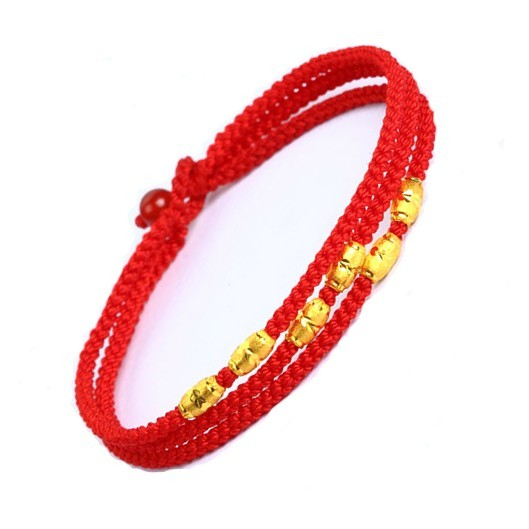Authentic 999 24K Yellow Gold Bracelet Weave With 6 PCS Bead 6.7