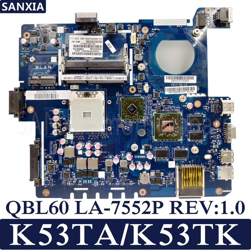 KEFU QBL60 LA-7552P REV:1.0 Laptop motherboard for ASUS K53TA K53TK K53T K53 Test original mainboard AMD-Video card