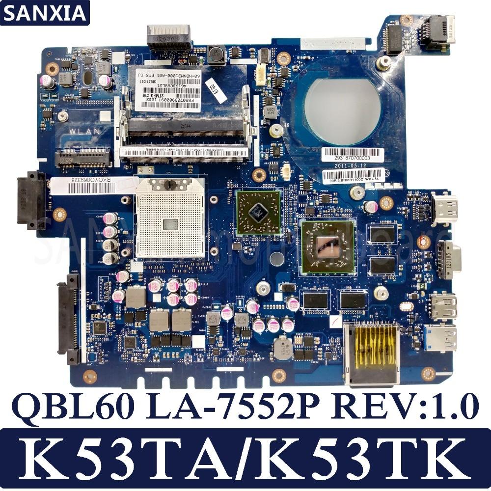 KEFU QBL60 LA-7552P REV:1.0 Laptop Motherboard For ASUS K53TA K53TK K53T K53 Test Original Mainboard AMD-Video Card