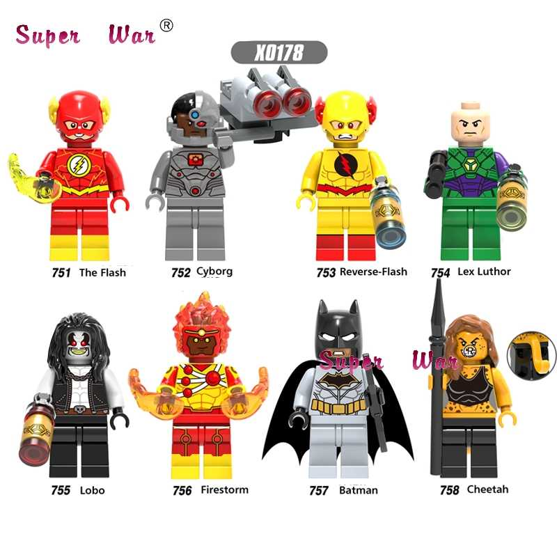 Único DC Super Heroes The Flash Batman Reverse-flash de Lex Luthor Cyborg Lobo Fogo Cheetah building blocks toy para crianças
