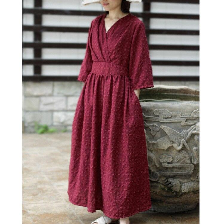 Vintage Long V Neck High Waisted Belted Ruched Wine Red Jacquard Cotton Linen Dress Flare Half