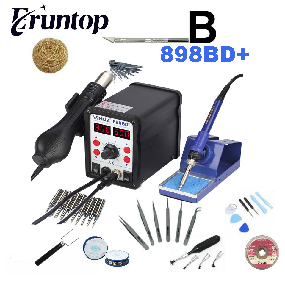 HOT YIHUA 898BD+ 2in1 SMD Electric Soldering Iron and Heat Hot air Gun Rework Solder Welding Station yihua 898bd 220v 2in1 digital display electric soldering iron hot air heat gun smd rework soldering desoldering station