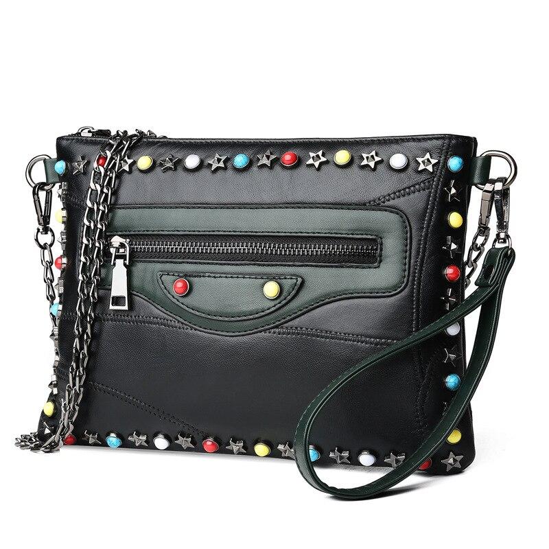 Gykaeo Genuine Leather Small Shoulder Bag Female 2018 Winter Chain Rivet Evening Clutch Envelopes Bags for Women Messenger Bag 2