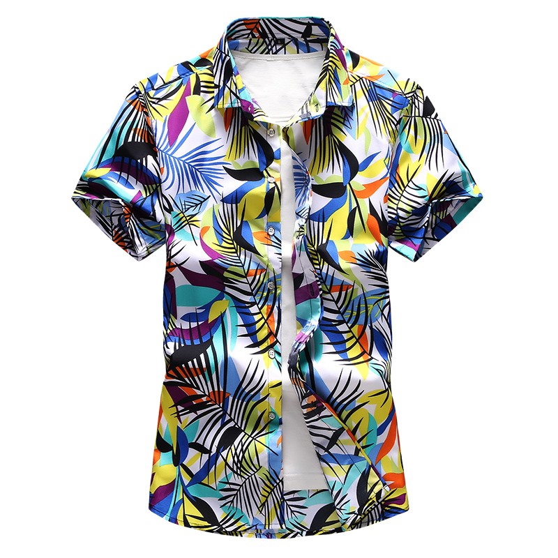 Short Sleeve Shirt Men Summer Fashion Casual Plus Size Mens Shirts High Quality Flower Shirts Mens Social 6XL 7XL