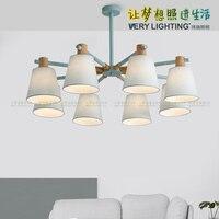 Oak Wood White Chandelier Ceiling Lamp Fixture Modern Nordic Japanese Hanging Light Lustre Avize Home Bedroom