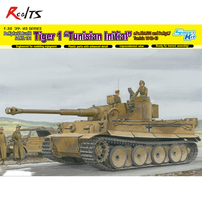 RealTS Dragon 1/35 1/35 Tiger I Initial Production 1942/43 Tunisia Model Kit #6608 realts dragon 6746 1 35 flak 43 flakpanzer iv ostwind w zimmerit