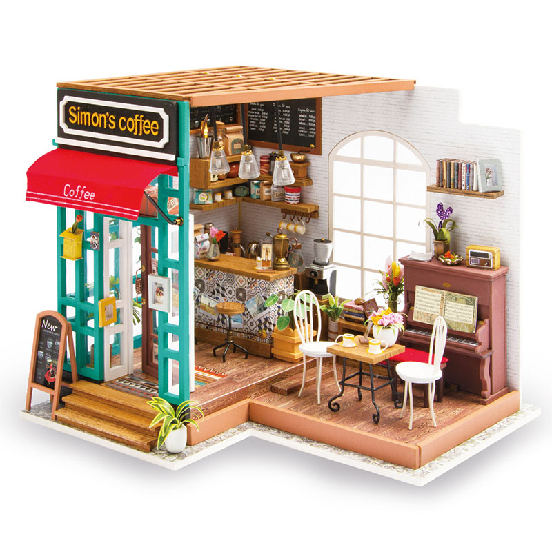 Robotime Wooden 3D House Toy DIY Architecture Simon's Coffee Shop Model Building Sets Wood Puzzle Toys For Adults Cafe цены