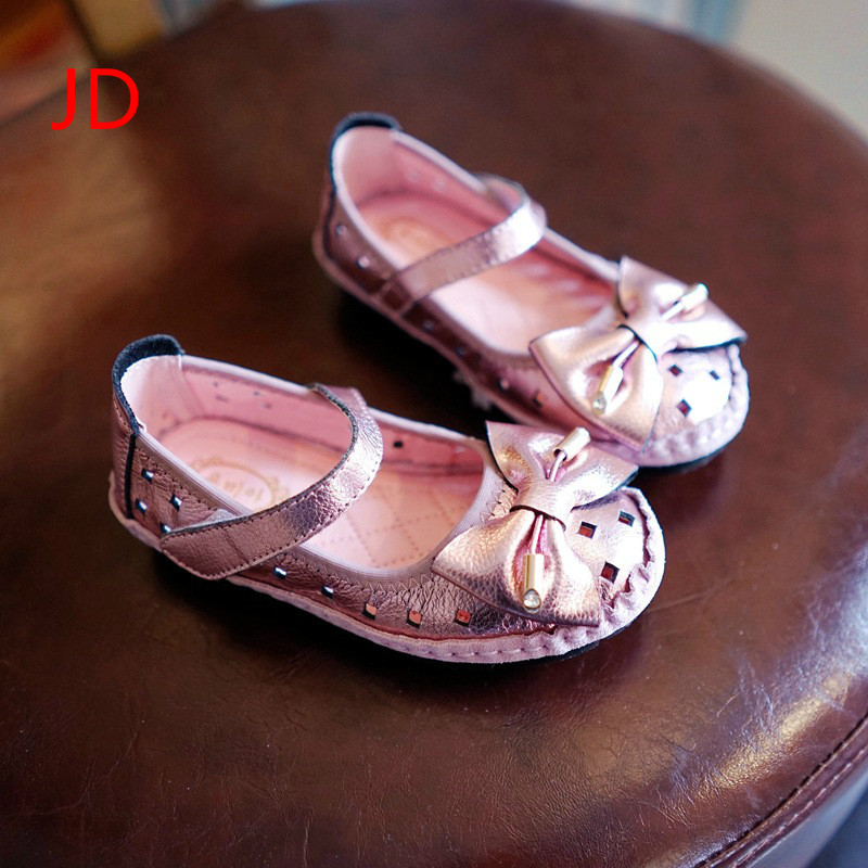 JD Childrens Shoes, Girls Leather, Princess Shoes, Childrens Peas Shoes, 2017 Spring and Summer New Baby Shoes