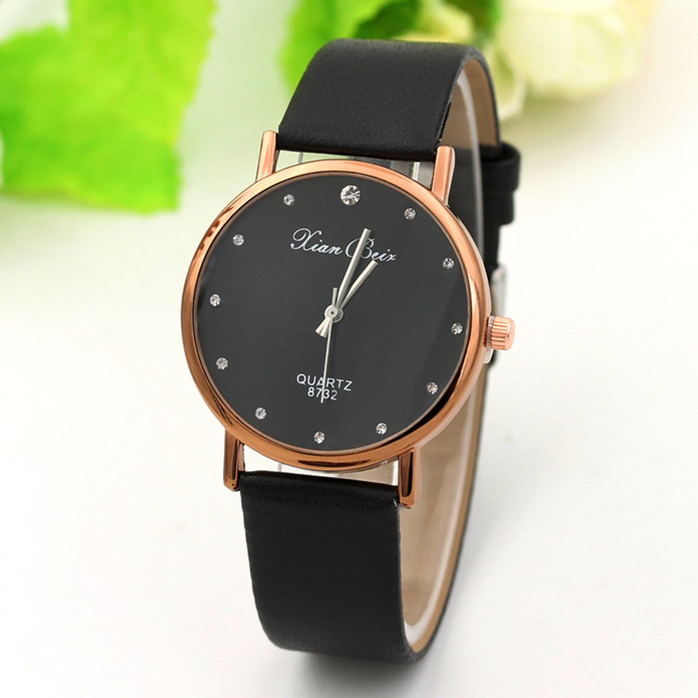 Point Drill Scale Leather Watch Quartz Watches Wristwatch Si