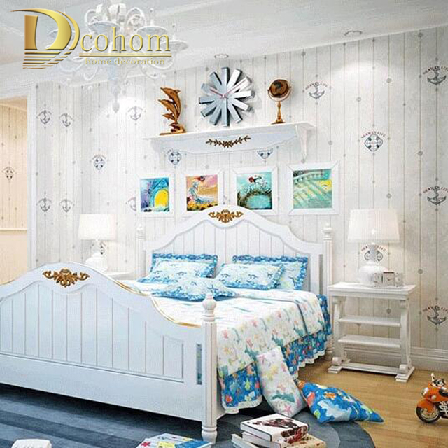 Mediterranean Cartoon Wood Striped Kids Room Wallpaper For