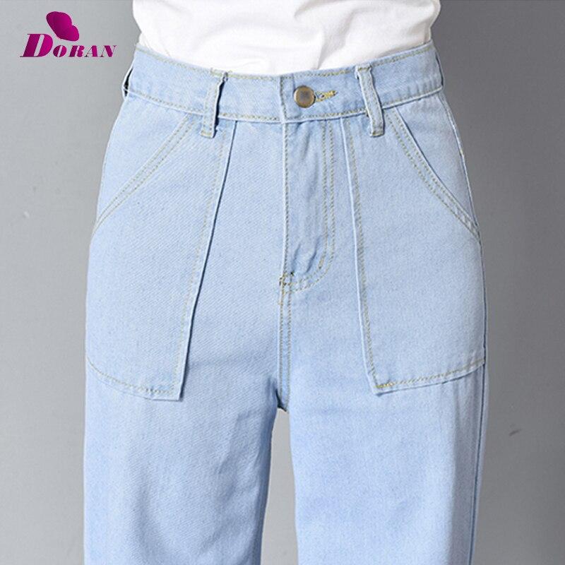 Vintage Wide Leg Jeans Big Pockrt Loose Washed High Waist Denim Pants 2018 Long Jeans for Women Pantalon Femme Light Dark Blue 5