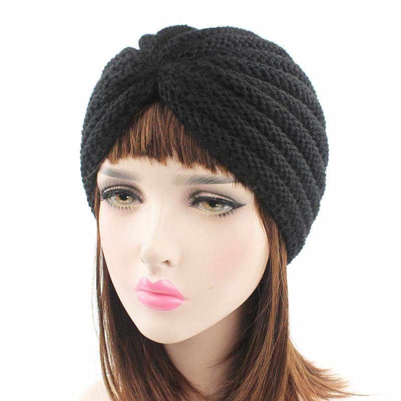 Muslim Winter Hat Warm Wool Knit Cap Beanie Sleep Chemo Turban Headwear Handmade Crochet Knitted Hair Accessories