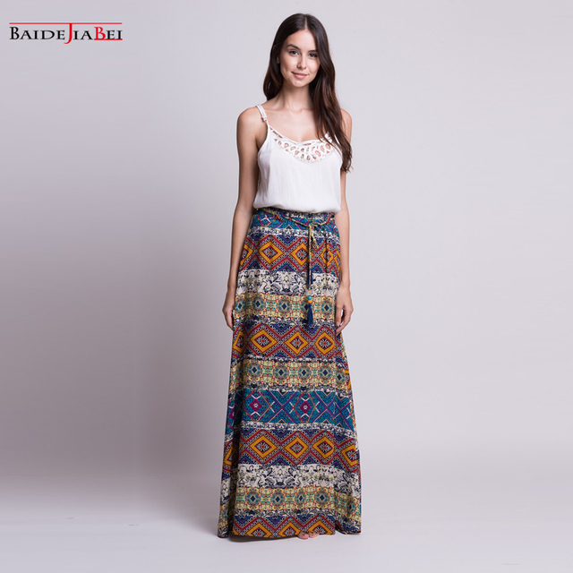 ff6e555a7 BAIDEJIABEI skirt 2017 New Boho Casual Cotton Summer Autumn Plus Size Long  Maxi Skirts For Women Loose Printed Flared A-Line