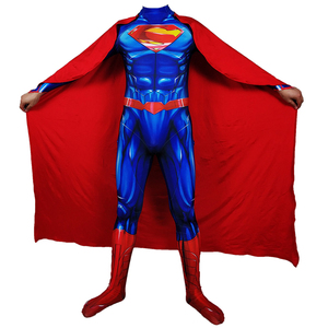 Image 2 - Adult Men Superman Clark Kent Cosplay Costume Zentai Superhero Bodysuit Suit Jumpsuits Cloak