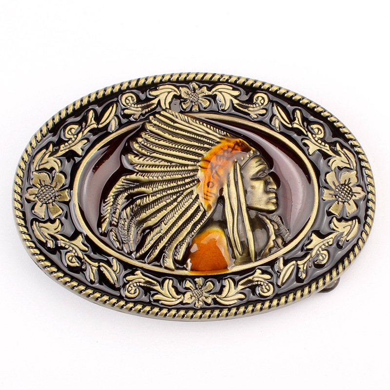 American Chieftain Oval Belt Buckle In European And American Style, Smooth Buckle Spot Wholesale