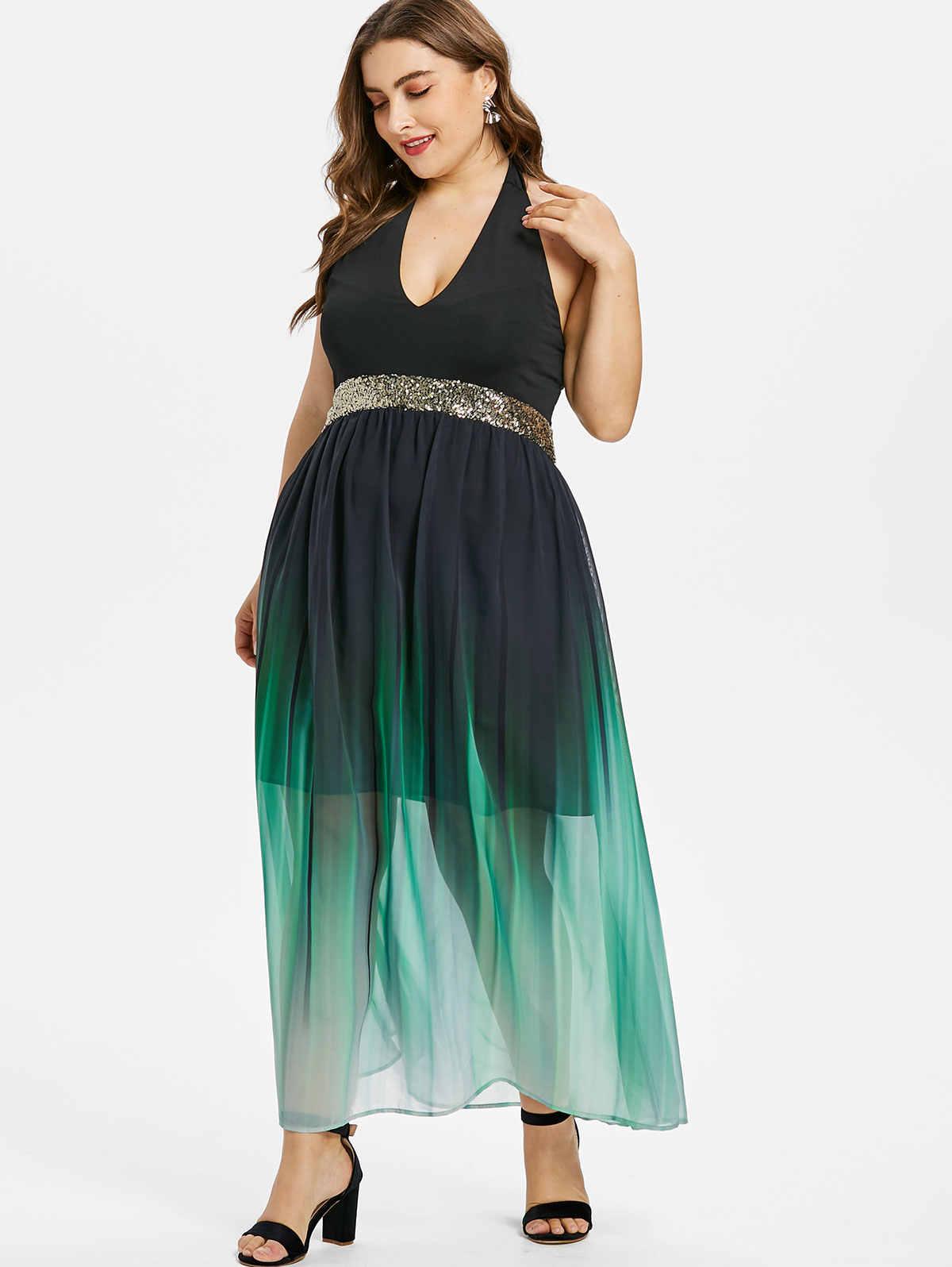 Размер xl сексуальный v-образный вырез с лямкой на шее, без рукавов, с открытой спиной, женское платье шифон Вечерние платья с блестками, макси, открытое кружевное платье Клубное платье Vestidos