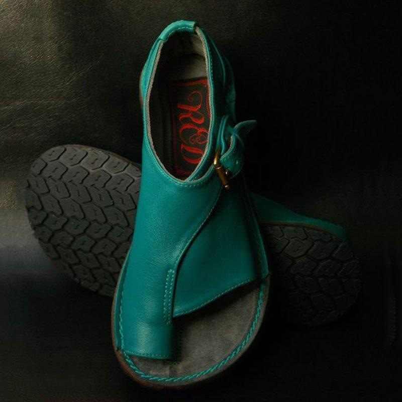 HEFLASHOR נשים נעלי רך אמיתי עור נשים נקבת סנדלי נשים מקרית קיץ חוף נעלי נשי אבזם