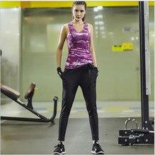 2016New women top selling yoga set Print yoga jogging aerobics clothing riding harem pants gym clothing set for conjunct fitness