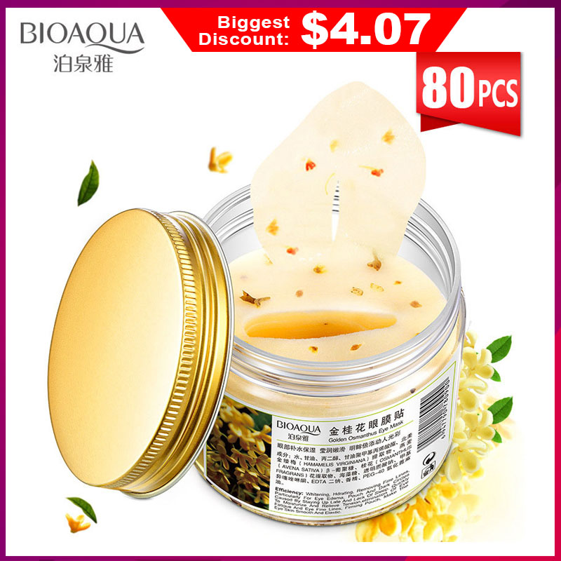 BIOAQUA Gold Osmanthus Eye Patches Mask Collagen Gel  Protein Sleep Patche Remover Dark Circles Eye Bag Eye care 80Pcs/ Bottle(China)