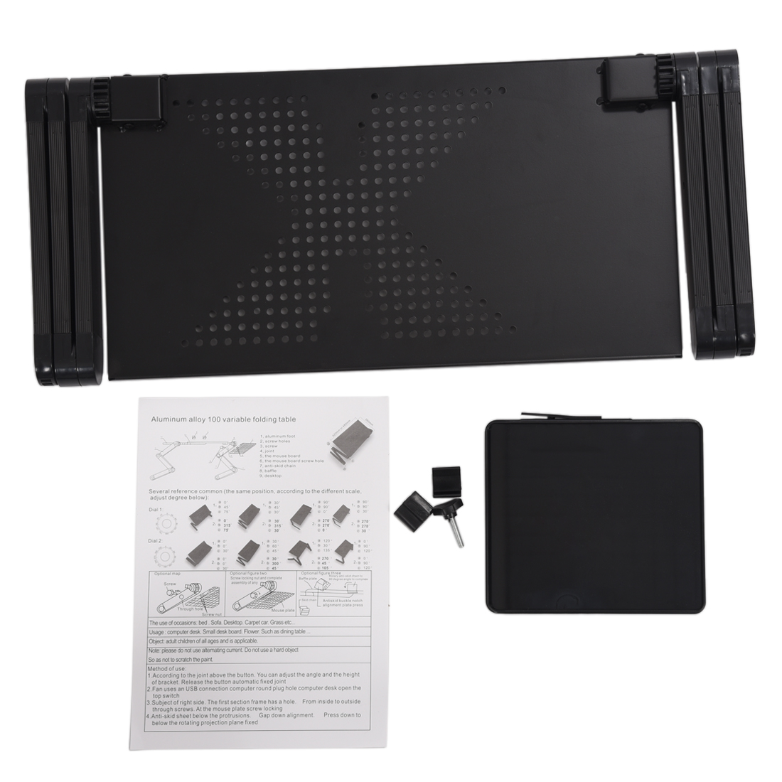 Image 5 - Portable Foldable Adjustable Laptop Desk Computer Table Stand Tray For Sofa Bed Black-in Laptop Desks from Furniture