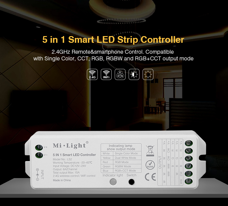 2.4GHZ 5 in 1 wireless control Mi.Light <font><b>LS2</b></font> DC12V-24V 15A Smart LED <font><b>Controller</b></font> for Single Color, CCT, RGB,RGBW,RGB+CCT LED Strip image