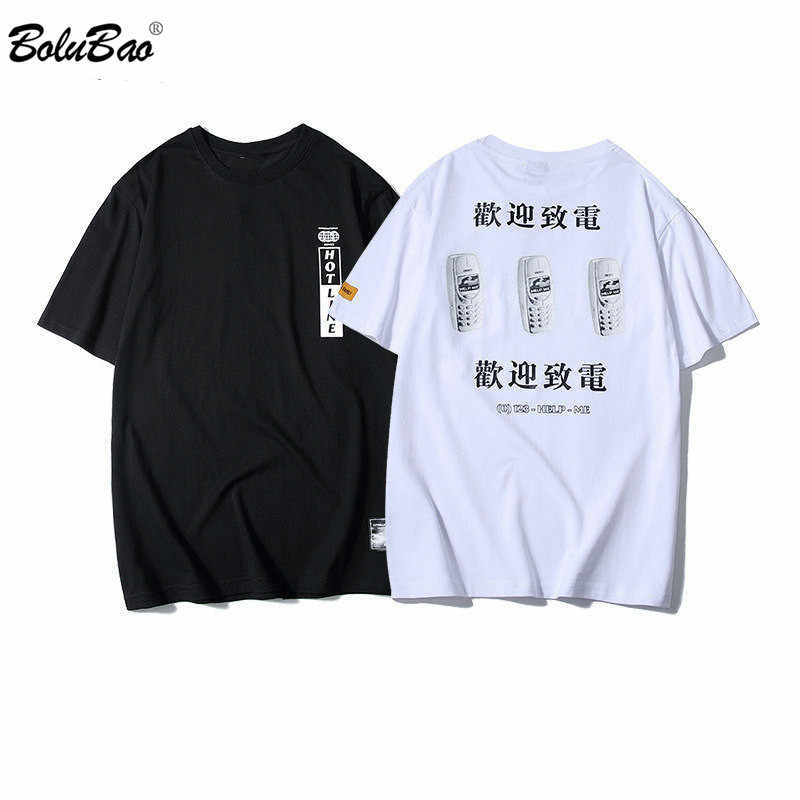BOLUBAO Marke männer T Shirts Hohe Qualität Baumwolle Männlichen T Chinesischen Text Druck Trend Straße Stil Männer T-shirt Top