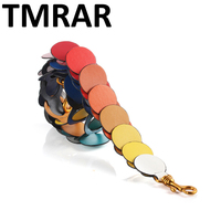 New 2018 rainbow circle link shoulder strap handbag belt trendy design bags strap bag parts bag accessory easy matching qn243