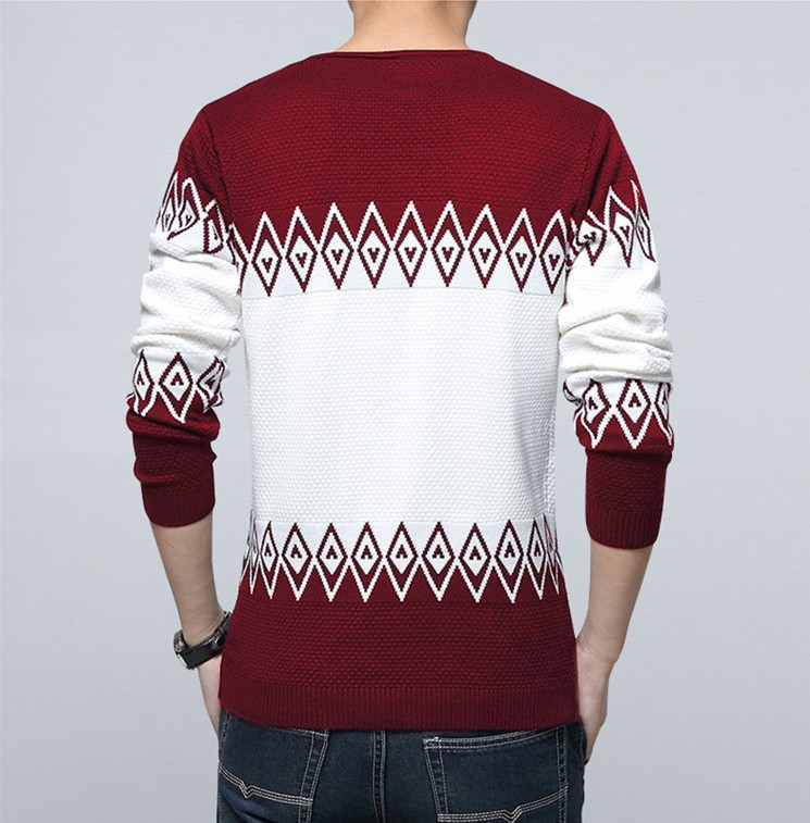 New Spring And Autumn 2018 Fashion Knitted Sweater Men Casual Wear Black Wine Red Mens Pullover Sweaters Male
