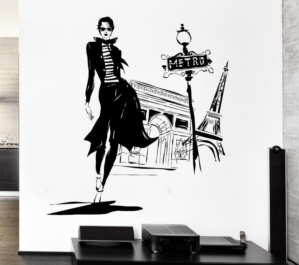 ©Стены Стикеры виниловая наклейка девушка Париж уличной ...