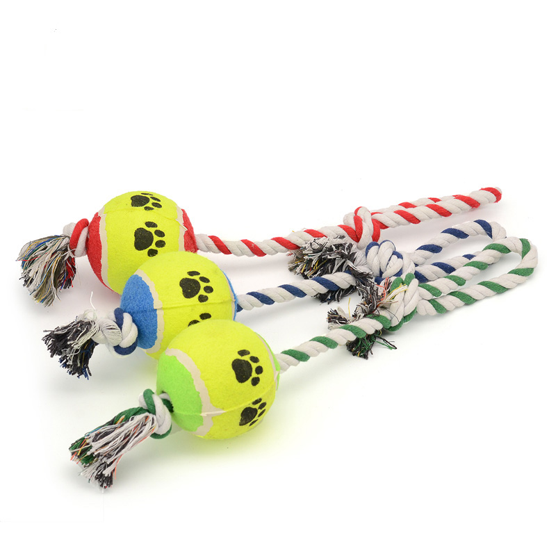 Toys Dog Tennis Ball With Cotton Rope Knot Training Accessories Toys Chew Eco-friendly Most Popular Dog Toys 3 Colors