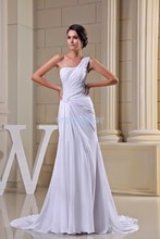 free shipping modest 2013 david tutera design hot sale pleat one shoulder custom size plus gown long white Bridesmaid Dress