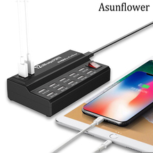Asunflower 12 Port USB Charger Adapter Splitter 5V 12A Desktop Intelligent Smart Fast Charging Station Hub UK US EU Plug