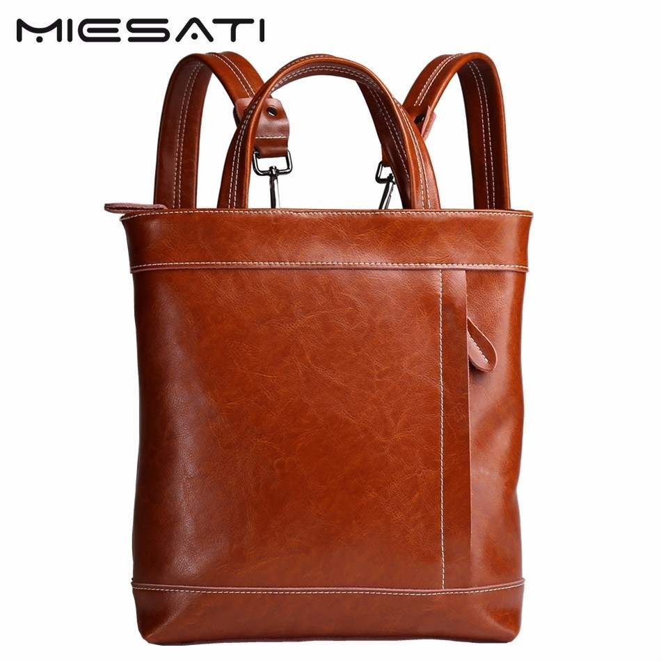 MIESATI Real Genuine Leather Women Backpack Casual School Bags For Teenagers Girls High Quality Female Travel Back Pack Brand zhierna brand women bow backpacks pu leather backpack travel casual bags high quality girls school bag for teenagers