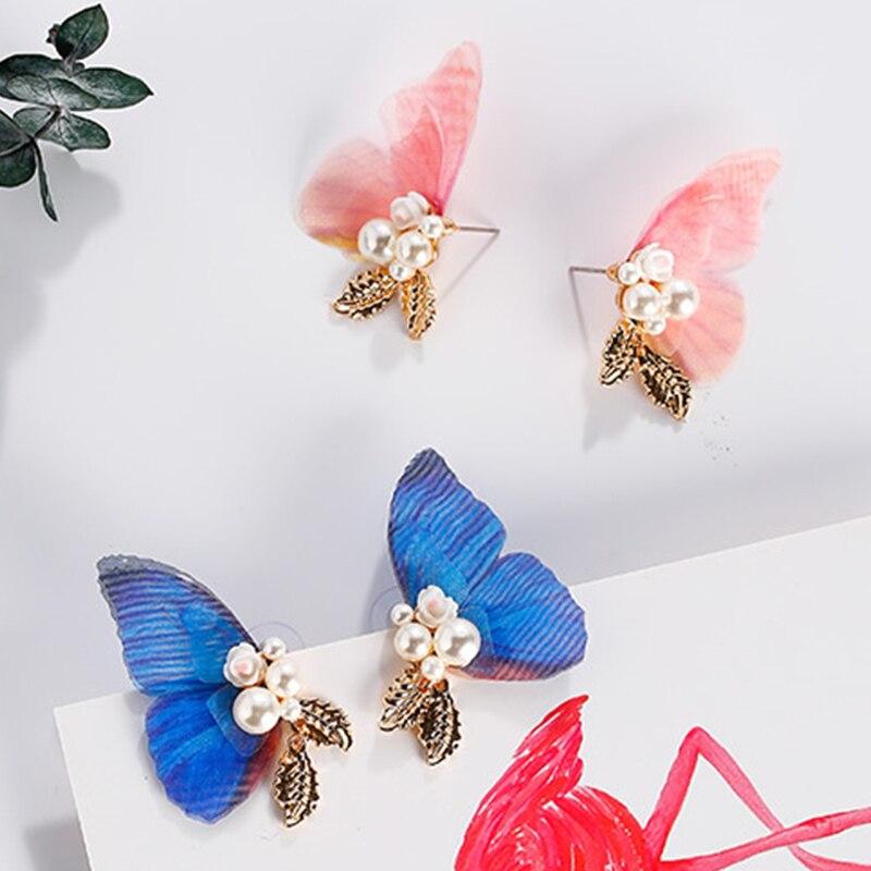 Japan and Korea 2019 New Creative Wings Stud Earrings Fashion Simple Butterfly Flower Pearl Leaves Earring for Women Ear Jewelry
