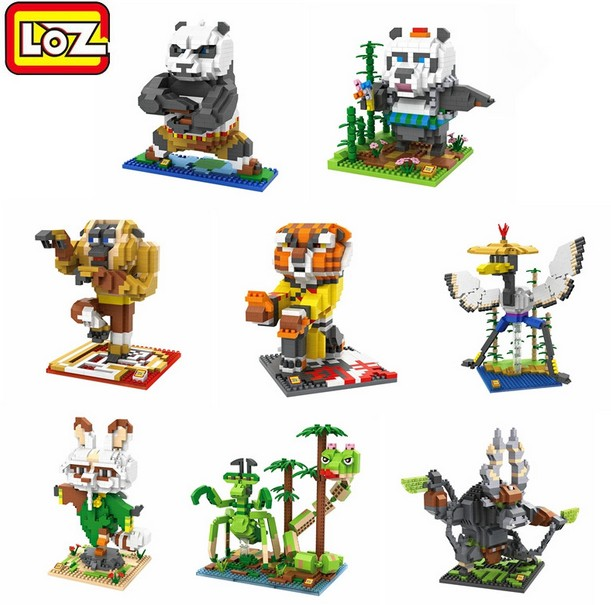 LOZ Micro Blocks Kung fu Panda Toys DIY Building Bricks Kungfu Tiger Movie Juguetes 3D Auction Figures Kids Gifts Child Toy 9712 loz small plastic bricks minion micro blocks cartoon diy building toys pegman auction figures toy kids gifts 1201 1208