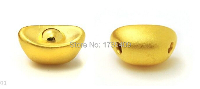 Pure 999 24K Yellow Gold / 3D Lucky Yuanbao Pendant 1PCS pure 999 yellow gold lucky 3d yuanbao chook bead pendant 1 17g