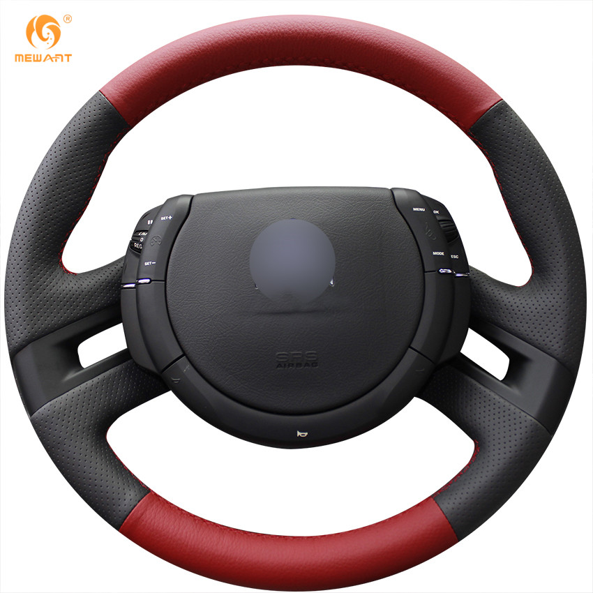 mewant black red genuine leather car steering wheel cover. Black Bedroom Furniture Sets. Home Design Ideas