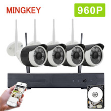 Mingkey 4CH 960P Wifi Security Camera System 1.3MP Wireless CCTV Kit Home Surveillance NVR Kit 960P IP Camera IR Outdoor HDD