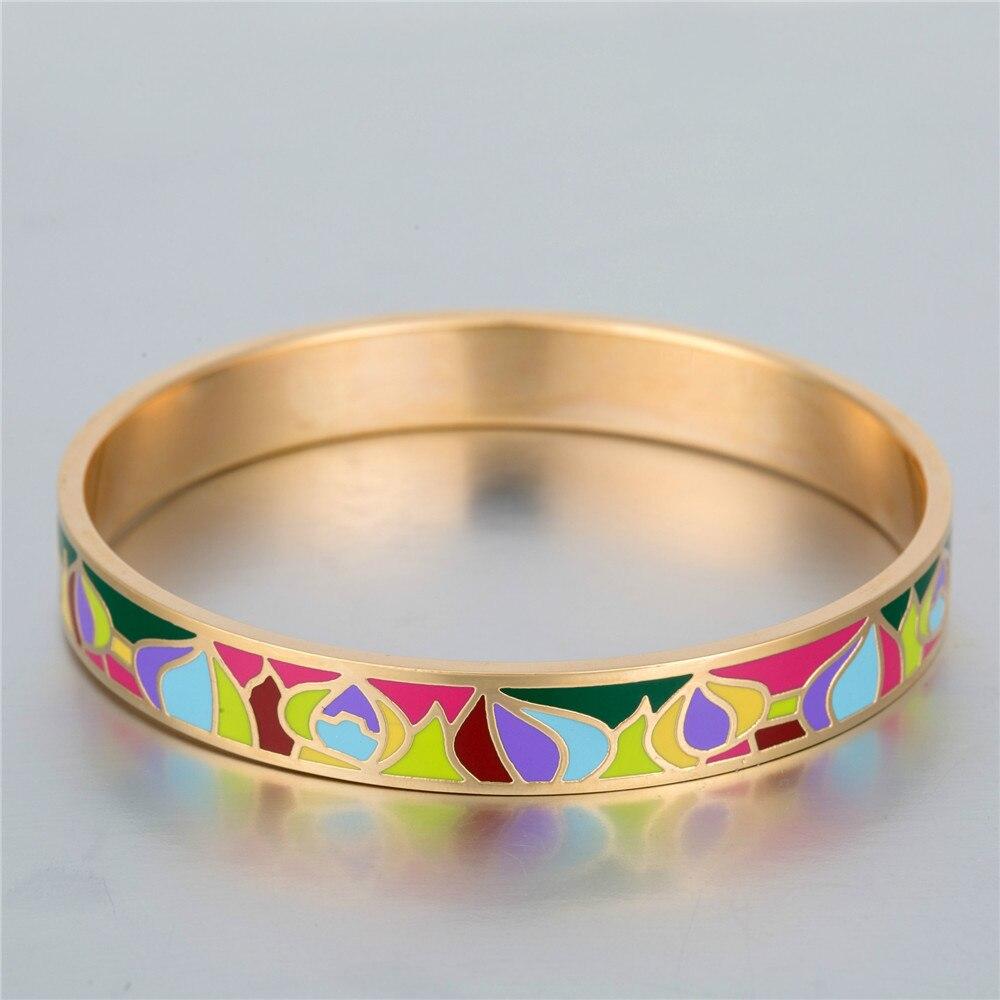 Austria Colorful Water Drop Enamel Bangle Geometric Ceramic for Women Best Friend Stainless Steel Bracelet Cordao Braslet