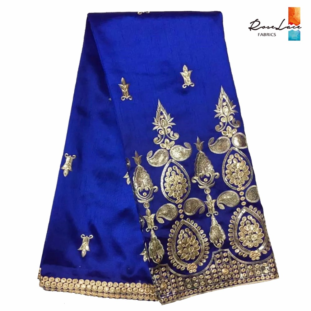 Hot royal blue george lace fabric 2017 design gold for Georges chakra gold wedding dress price