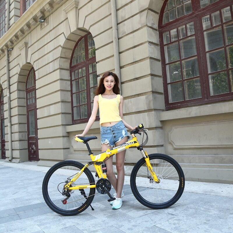 Nouveau 24 pouces vélo femme/homme VTT 21 vitesses pliant vélo de montagne roue/couteau roue vélo de montagne adulte vélo