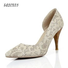 spring/autumn shoes woman high heel womens shoes autumn women shoes 2017 ladies shoes shallow lace party elegant pumps