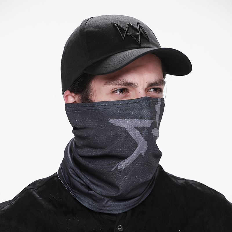 Aiden Pearce Cosplay Masks Hat Costume Watch Dogs 2 Black Baseball Adjustable Strap Cap Party Halloween Scarf Outdoor Sport Suit