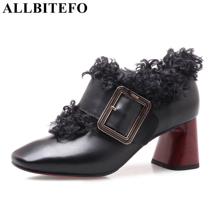 ALLBITEFO new arrive genuine leather square toe thick heel fashion leisure buckle high heels women pumps girls high heel shoes allbitefo fashion brand genuine leather thick heel women pumps new spring pointed toe high heels ladies shoes sapatos femininos